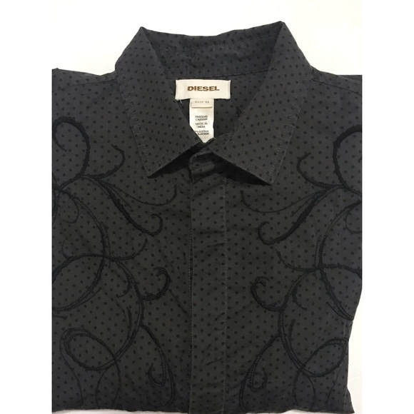 f54d7db04 Diesel Shirts | Embroidered Button Down Charcoal Gray Shirt | Poshmark